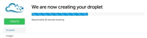 Digital Ocean Creating Your Droplet Progress Bar