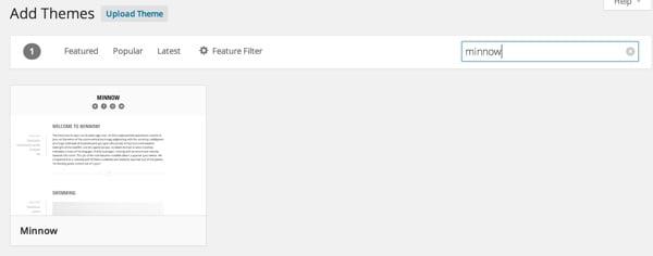 Add the Minnow Theme to WordPress