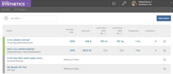 New Relic Synthetics Monitor Dashboard