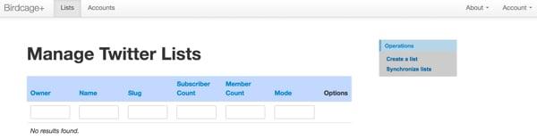 Twitter List API Manage Lists empty