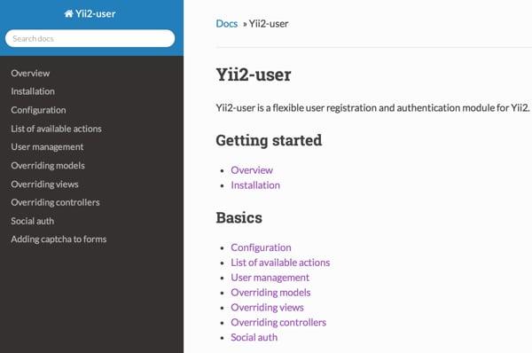Dektriums Yii2-User Documentation