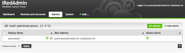 iRedMail Administration Admins