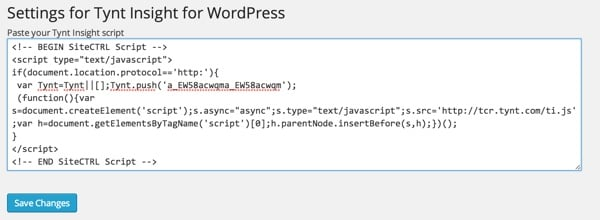 Tynt Insight for WordPress Plugin Settings