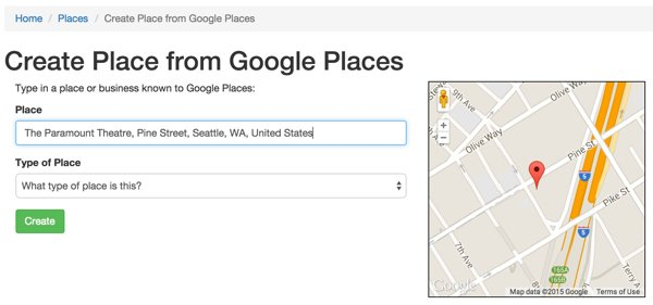 Create a Place from Google Places