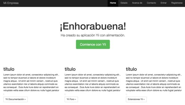Yii2 I18n Our App Home Page in Spanish