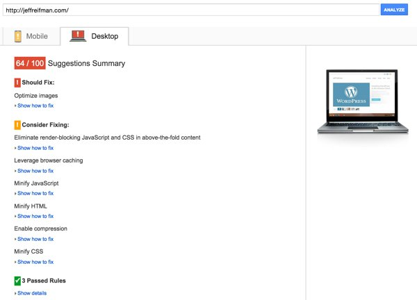 Optimizing PageSpeed - Initial Desktop