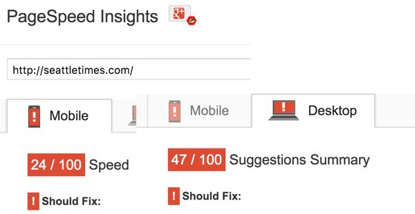 Google PageSpeed - The Seattle Times