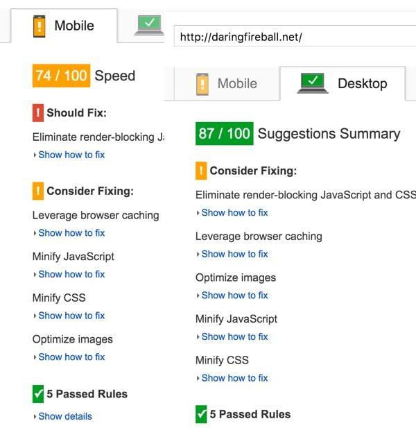 Daring Fireball PageSpeed