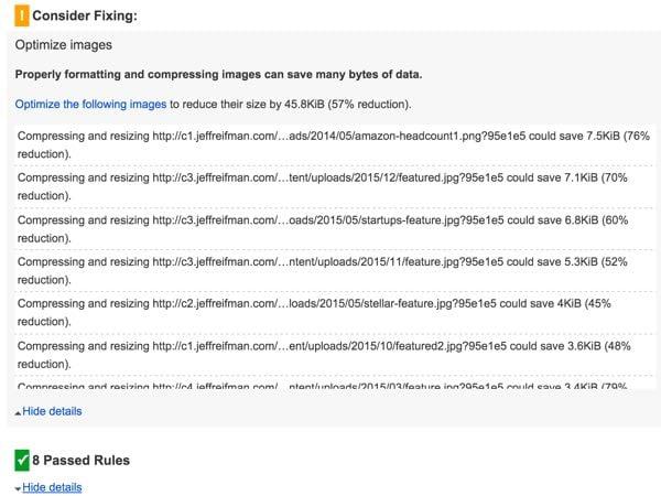 Google PageSpeed Final Desktop Score Image Complaints