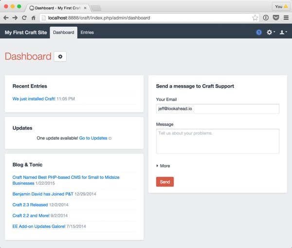Craft Your New Site Dashboard