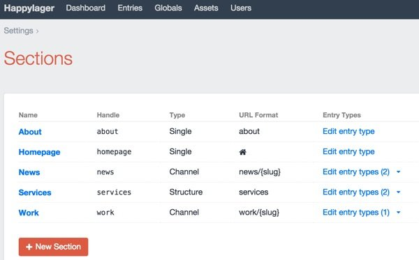 Craft Dashboard Sections