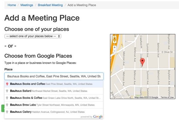 Add a Meeting Place from Your Places or via Google Places Autocomplete