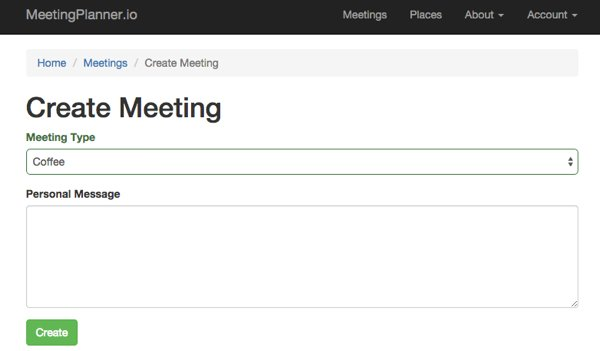 The Create a Meeting Form