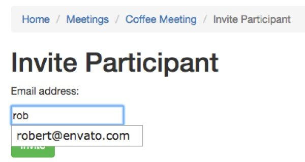 Meeting Planner invite a participant with autocomplete