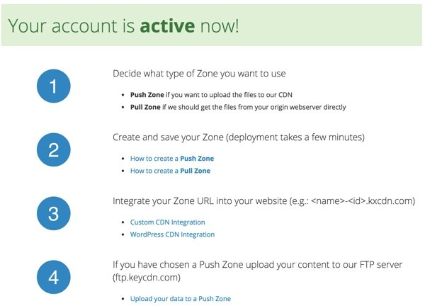 KeyCDN Account Activation