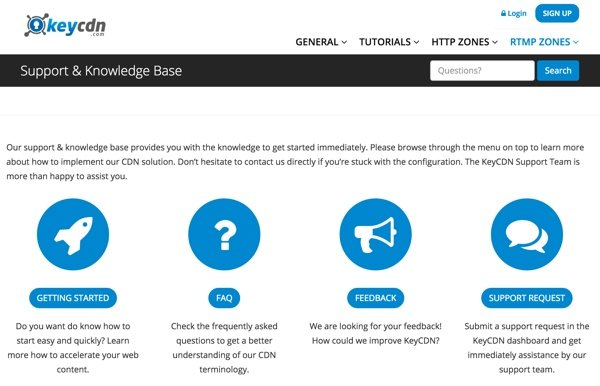 KeyCDN Support Knowledge Base Site