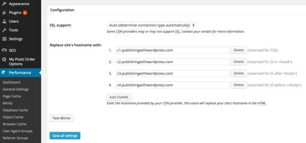 KeyCDN with W3TC for WordPress Configuring Four CNAMEs