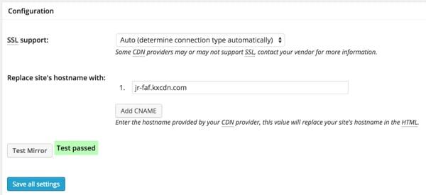 KeyCDN with W3TC Zone Configuration