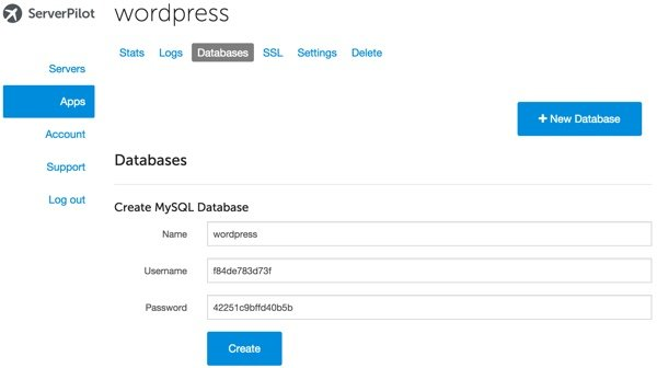 Server Pilot Create MySQL Database