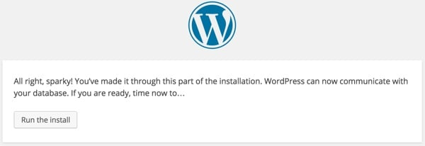 WordPress Run the Install