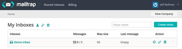 The Mailtrap dashboard with your inboxes
