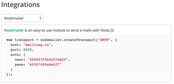 Mailtrap Dropdown selector for configuration options