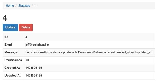 View of the results of Timestamp Behavior on our Status model
