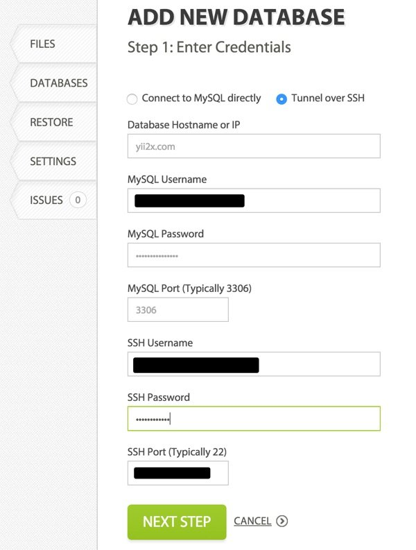 CodeGuard Backups Add New Database
