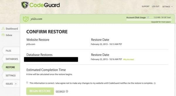 CodeGuard Confirm Restore
