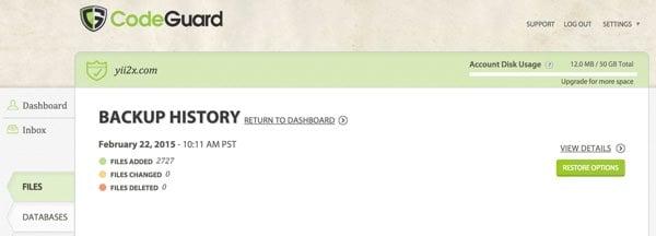 CodeGuard Backup History