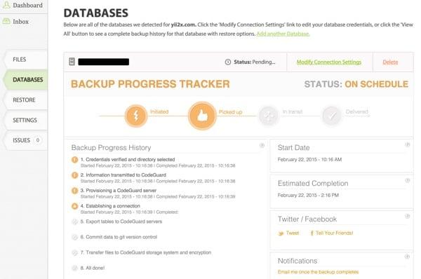 CodeGuard Backups Database Progress Tracker