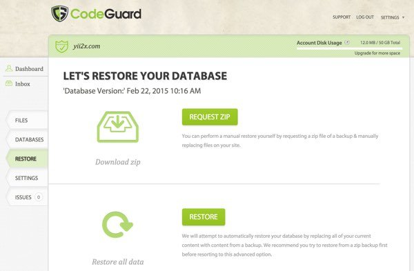 CodeGuard Restore Your Database
