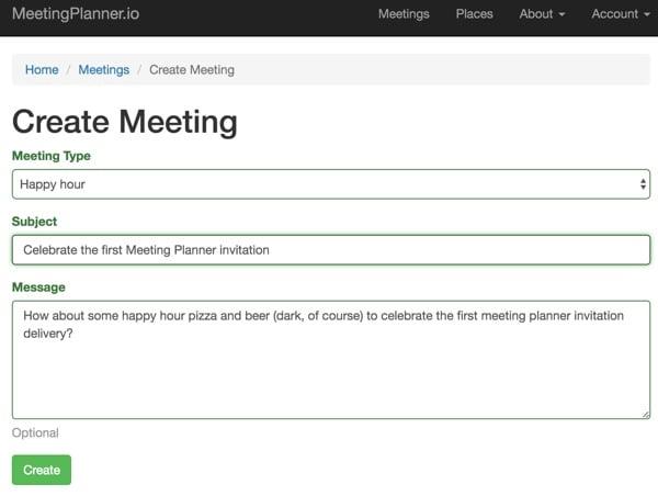 Meeting Planner Invitation - Create a Meeting