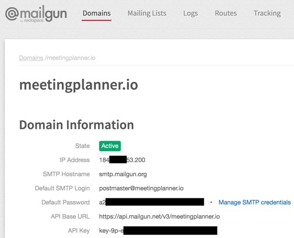 Meeting Planner Invitation - Mailgun SMTP Settings