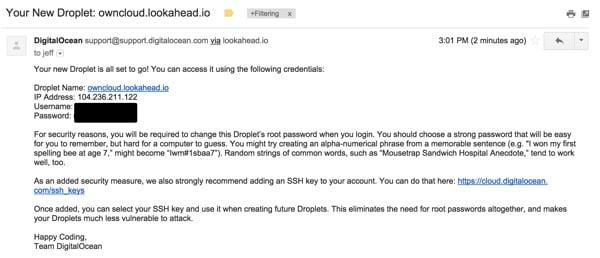 OwnCloud Your Digital Ocean Email