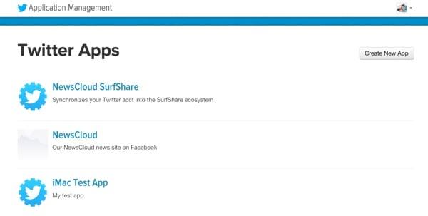 Twitter Apps Dashboard