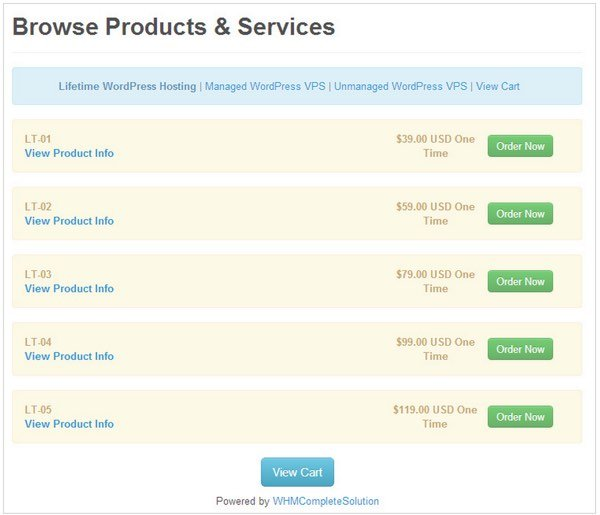Nodekis Lifetime of WordPress Hosting Promotion Pricing Levels