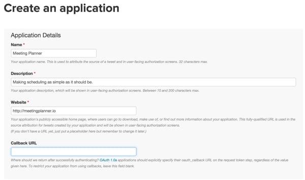 Building Your Startup OAuth - Twitter Dev App Details