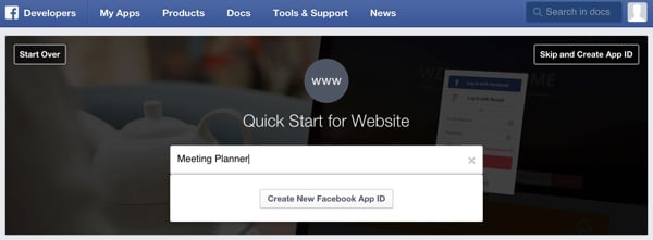 Building Your Startup OAuth - Facebook Dev Console Generate App ID