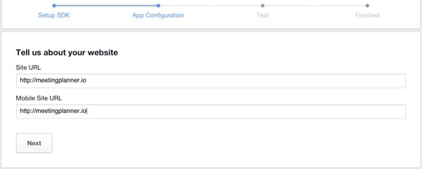 Building Your Startup OAuth - Facebook Dev Console App Webpage URL