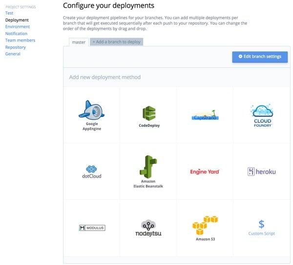 Codeship Configure Your Deployment