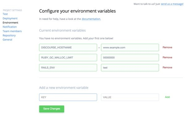 Codeship Configure your environment variables