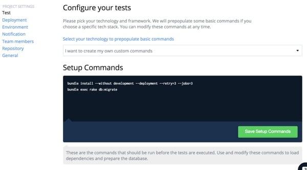 Codeship Project Build Setup Commands