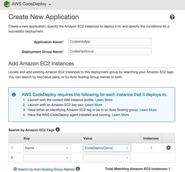 Codeship AWS Code Deploy Create New Application