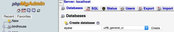 Create your Eyewitness database