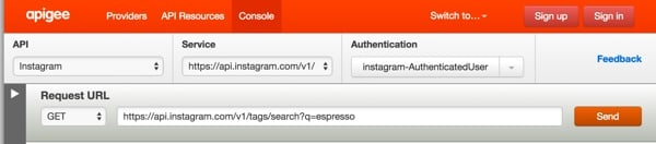 Instagram API Console powered by Apigee