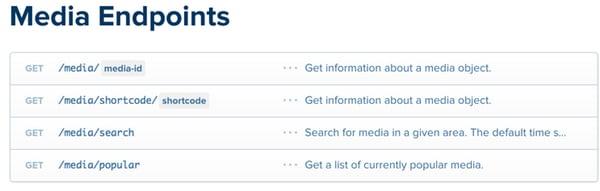 Instagram API Media Endpoints
