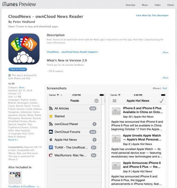 CloudNews iOS OwnCloud News Reader via iTunes