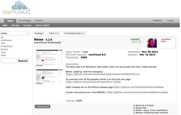 OwnCloud App Store News App