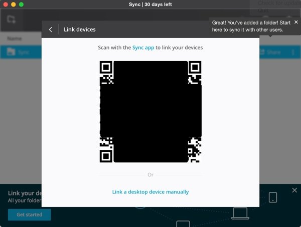BitTorrent Sync QR Code to Link Devices